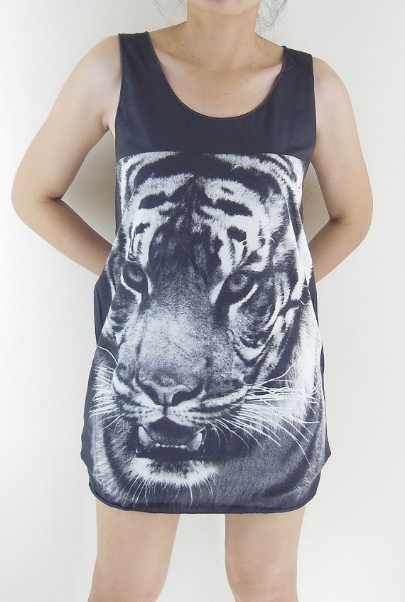 Tiger shirt  animal tshirt head animal shirt women by panotshirt