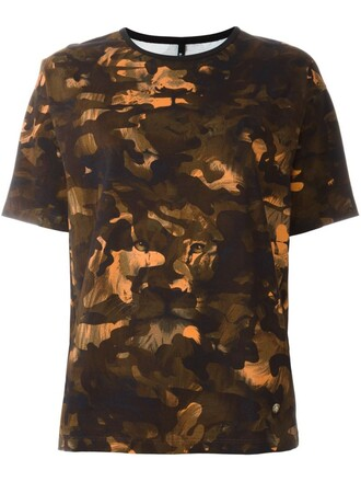 t-shirt shirt women camouflage spandex cotton print top