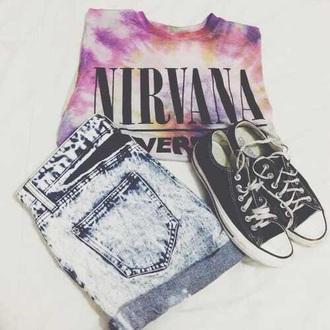 shirt tie dye shirt tie dye top nevermind nirvana t-shirt tank top