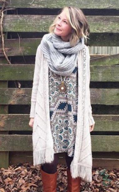 dress bohiem boho dress fashion winter outfits cardigan