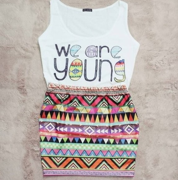 young tank top we are young top aztec colour colourful aztec top white skirt aztec skirt slim fit