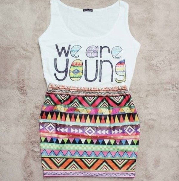 skirt aztec aztec skirt slim fit colorful colorful tank top young we are young aztec top top white nice pretty nice maxi skirt color/pattern happy matching skirt and top