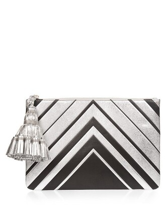 leather clutch diamonds clutch leather silver green bag