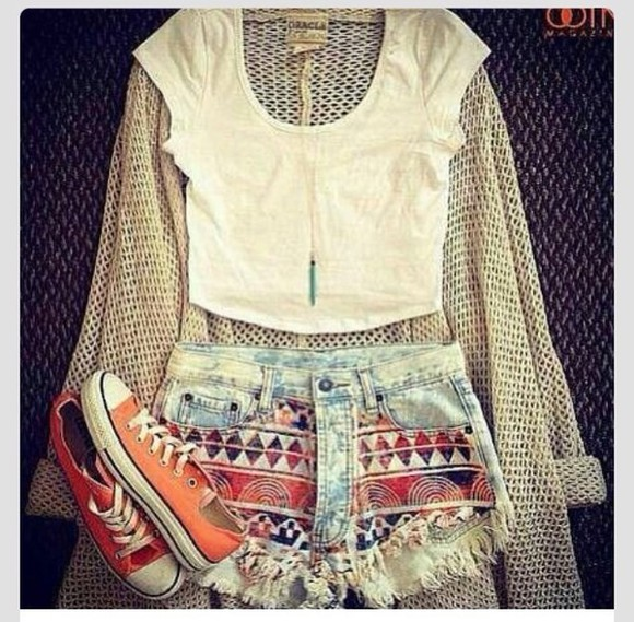 orange shorts shorts jewels