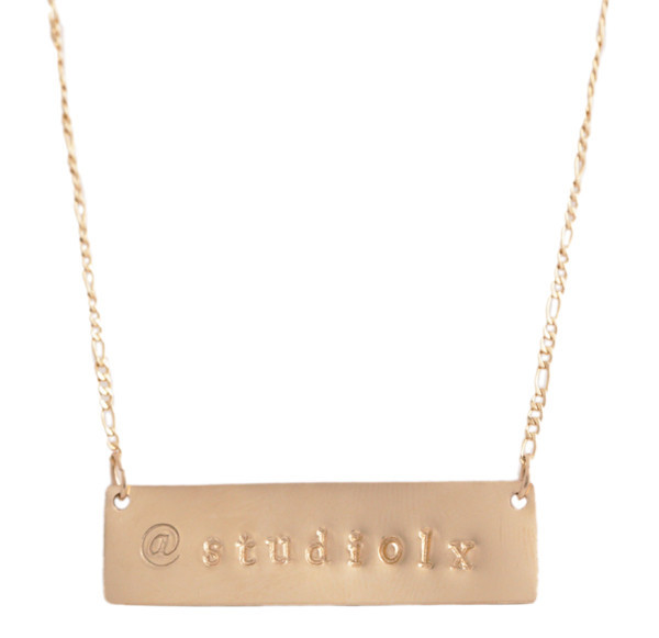 Social media hand stamped necklace