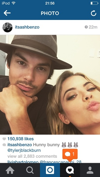 hat pretty little liars tyler blackburn ashley benson fashion actress