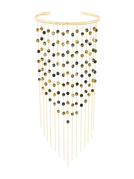 women tiger necklace gold grey metallic jewels