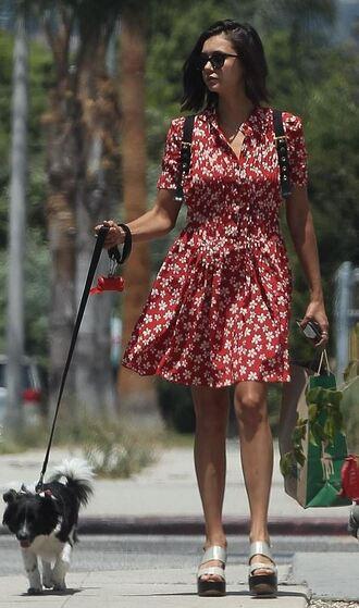 shoes dress midi dress nina dobrev summer summer outfits summer dress platform sandals wedges