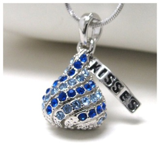 jewels adorable blue crystal candy kiss pendant necklace