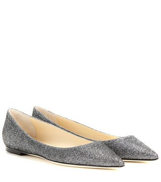 glitter embellished grey shoes