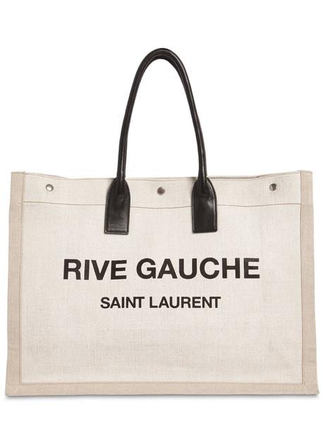 SAINT LAURENT Noe Logo Printed Canvas Tote Bag in black / beige / beige