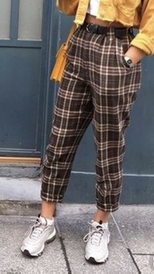 jeans,checks,pants,where can i find this entire outfit ?!!,trousers: yellow black
