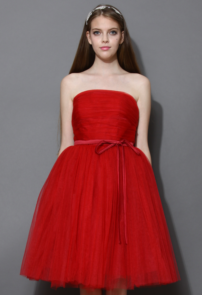 Endless red tulle bustier mesh prom dress