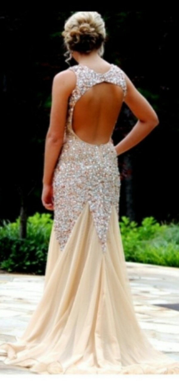 dress prom dress prom no back jewelled dress sparkle backless dress mermaid prom dress long prom dress gold and sparkly dress prom gown formal event outfit open back dresses sparkly dress sparkly dress cream prom dress champagne prom dress champagne dress formal dress evening dress evening dress sweetheart neckline mermaidd