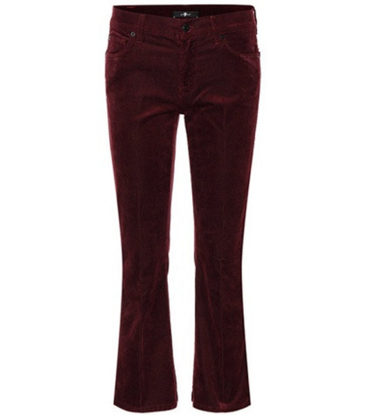 7 For All Mankind Cropped bootcut corduroy jeans in red