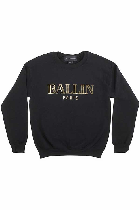 Alex & Chloe Ballin in Paris Sweatshirt in Black/Gold