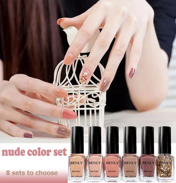 Online Shop 6pcs/set nude nail polish set Lacquer professional ...