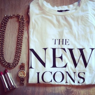 jewels the new icons fashion h&m lipstick gold chain gold watch