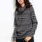 Geometric print cowl neck drawstring sweater -shein(sheinside)