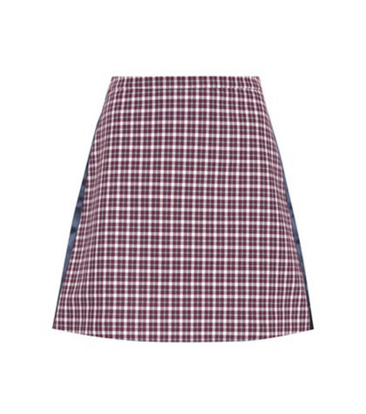 Burberry Checked cotton-blend miniskirt in red