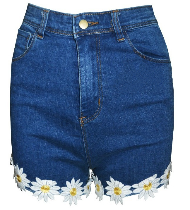 Sunflower denim shorts, cute high waist dark jean shorts