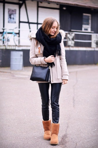 by annna blogger scarf winter coat leather leggings ugg boots