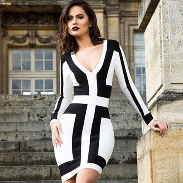 e31b173f60b dress bandage dress black white black and white mini dressa above the knee  dress elegant dress