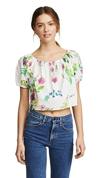 top peasant top cropped floral