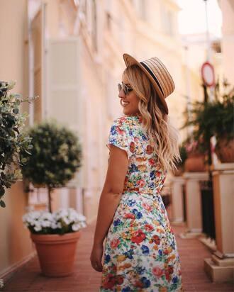 dress hat tumblr floral floral dress short sleeve dress sun hat straw hat sunglasses summer dress summer outfits