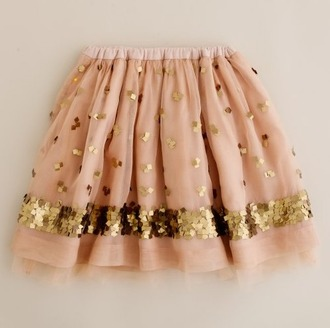 skirt sequins gold pink salmon tulle skirt