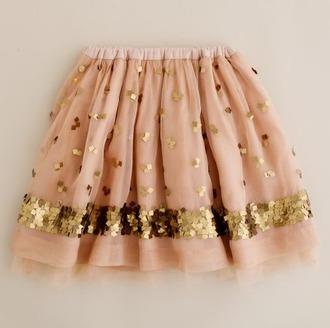 skirt sequins gold pink salmon tulle skirt