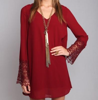 Wine Lace Sleeve Tie Back Dress | Tempt BoutiqueTempt Boutique