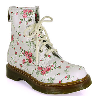 Dr. Martens - 1460 - Floral Printed Boot in White at Footnotesonline Women s  Designer Shoes eee2098c19