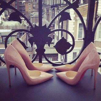 shoes heels stilettos beige high heels louboutin nude