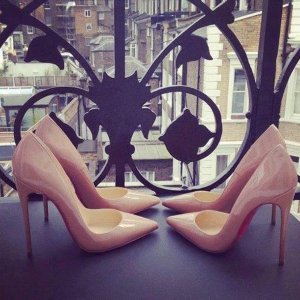 shoes heels stilettos beige high heels louboutin nude louboutin