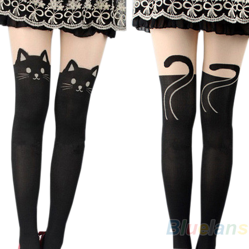 Sexy Women Cat Tail Gipsy Mock Knee High Hosiery Pantyhose Panty Hose Tattoo Tights Hot Selling-in Tights from Apparel & Accessories on Aliexpress.com