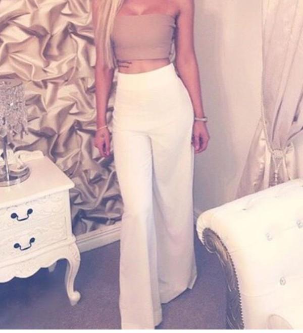 Pants: long pants, white, nude, high waisted, wide-leg pants ...