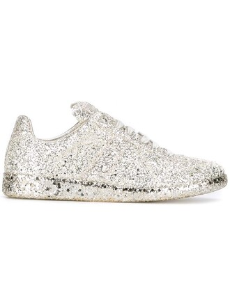 glitter women sneakers lace leather cotton grey metallic shoes