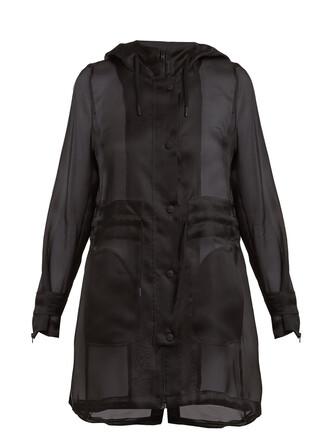 parka sheer silk black coat
