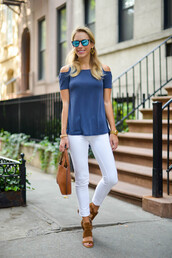katie's bliss - a personal style blog based in nyc,blogger,top,jeans,bag,shoes,jewels,sunglasses,off the shoulder,white jeans,skinny jeans,cropped jeans,blue top,thick heel