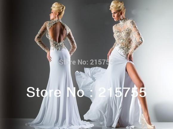 long sleeve dress tony bowls rhinestones turtleneck chiffon dress
