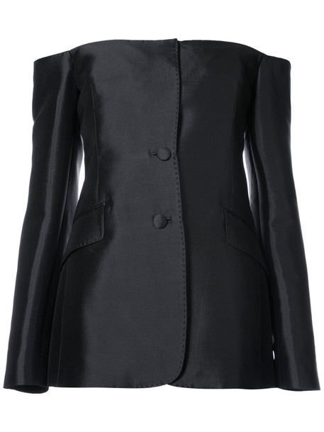 blouse women black silk wool top