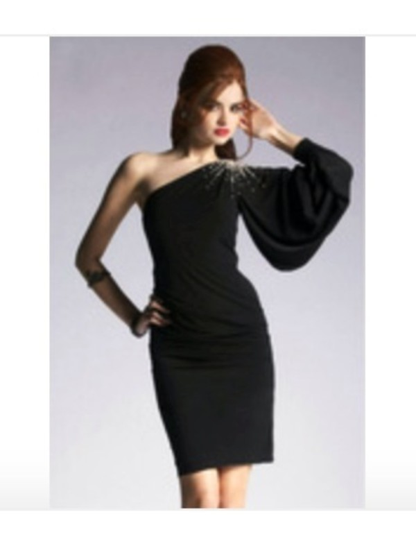 dress one shoulder black dress