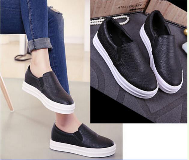 High Platform Round Toe Snake Slip On Loafer Flat Sneaker Casual Shoes
