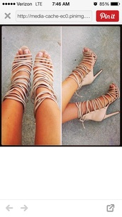 shoes,nude,strappy,heels,tan heels,nude heels,straps,style,strappy sandals,high heels