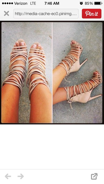 Shoes: nude, strappy, heels, tan heels, nude heels, straps, style ...