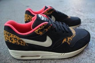 shoes nike air max nike leopard print noir roses