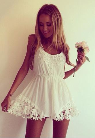 dress white romper playsuit lace white dress flowers lace dress
