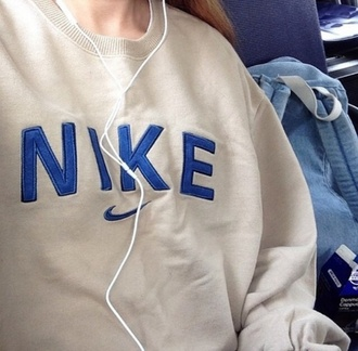 sweater nike vintage sweatshirt pullover white blue cream jacket jumper navy