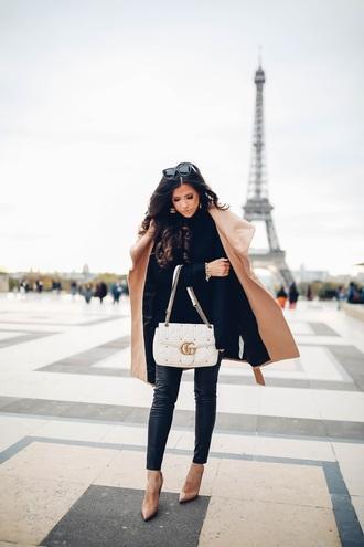 thesweetestthing blogger coat leggings shoes bag sunglasses jewels gucci bag gucci beige coat nude heels black sweater